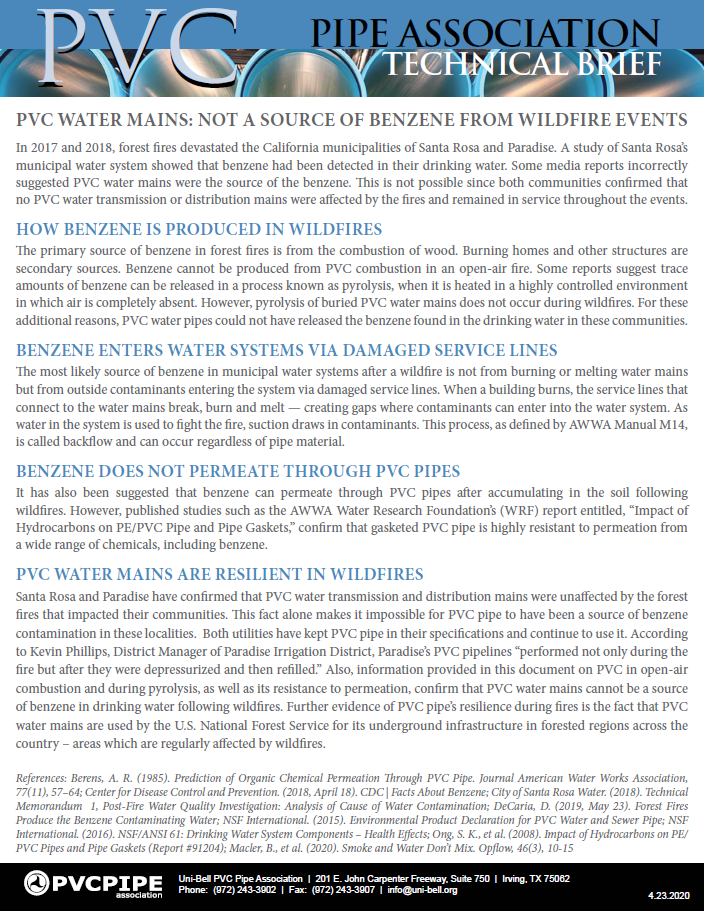 PVC Water Mains: Not A Source of Benzene From Wildfire Events